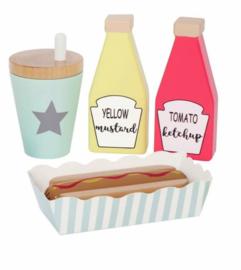 Houten Hotdog set