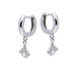 Zilveren kinderoorbellen: met paardenhoofd (klapcreool)