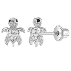 Zilveren kinderoorbellen: Schildpad met schroefsluiting