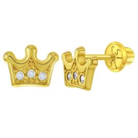 Gouden kinderoorbellen: Kroon met schroefsluiting