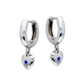 Zilveren kinderoorbellen: met hartje en steentje (klapcreool)