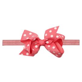Haarbandje met zalm roze strik