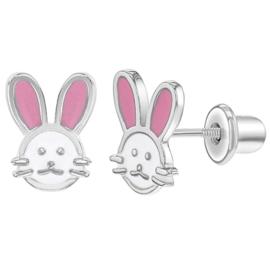 Zilveren kinderoorbellen: konijn met schroefsluiting