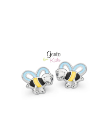 Zilveren kinderoorbellen: Bijtjes (Gento for kids)