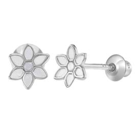 Zilveren kinderoorbellen: zilver bloemetje met schroefsluiting