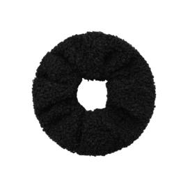 Scrunchie zwart teddy soft