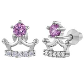 Zilveren kinderoorbellen: Kroon met schroefsluiting roze