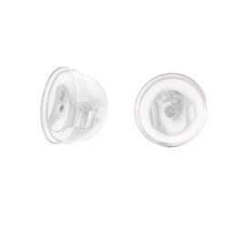 Zilveren achterkantje met siliconen  (1 stuk)