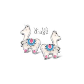 Zilveren kinderoorbellen: Lama (ORAGE)