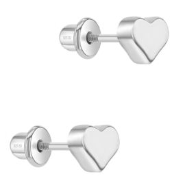Zilveren kinderoorbellen: Hartje met schroefsluiting