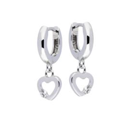 Zilveren kinderoorbellen creolen met hartje en steentje (klapcreool)