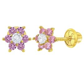 Gouden kinderoorbellen: Bloemetjes met steentjes met schroefsluiting (roze)