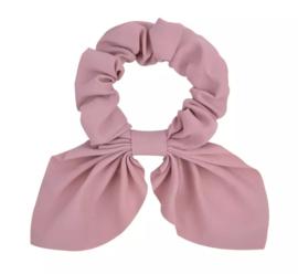 Haarelastiekjes: Scrunchie met strik oud roze