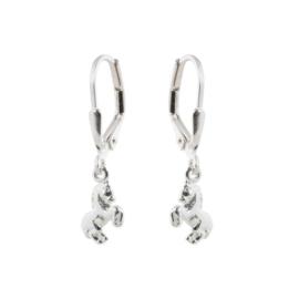 Zilveren kinderoorbellen: met paardje (brisure sluiting)