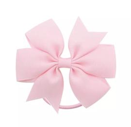 Haarelastiekjes: licht roze strik met elastiek