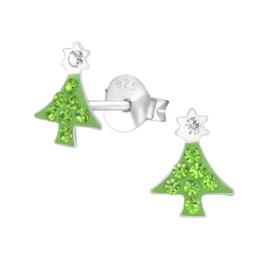 Zilveren kinderoorbellen:  Kerstboom met kristallen