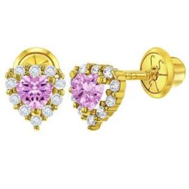 Gouden kinderoorbellen: Hartje met steentjes met schroefsluiting (roze)