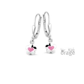 Brisure sluiting: Bloemetje met roze hartje  (ORAGE)
