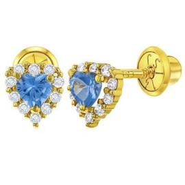Gouden kinderoorbellen: Hartje met steentjes met  schroefsluiting (blauw)