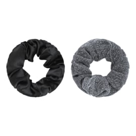Scrunchie setje zilver/zwart