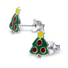 Zilveren kinderoorbellen: Kerstboom
