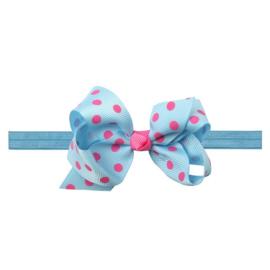 Haarbandje met blauw met roze strik
