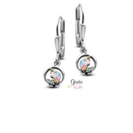 Zilveren kinderoorbellen: eenhoorn (brisure sluiting) (Gento for kids)