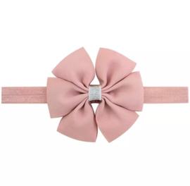 Haarbandje met strik oude/roze