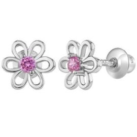 Zilveren kinderoorbellen: Bloemetje met schroefsluiting roze