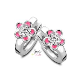 Zilveren kinderoorbellen: Klapcreolen bloemetjes (Gento for kids)