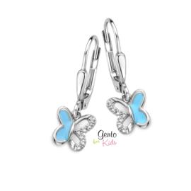 Zilveren kinderoorbellen: Vlinder (brisure sluiting) (Gento for kids)