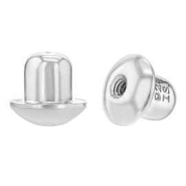 Zilveren achterkantje schroefsluiting (1 stuk)