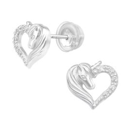 Zilveren kinderoorbellen Premium luxe collectie: Eenhoorn