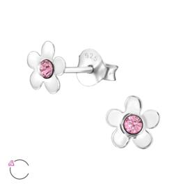 Zilveren kinderoorbellen: Klein boemetje met roze kristalletje