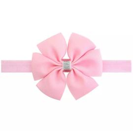 Haarbandje met strik licht roze