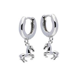 Zilveren kinderoorbellen: met paardje (klapcreool)