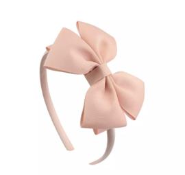Diadeem met strik:  zalm roze