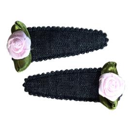 Haarspeldjes: Licht roze roosje