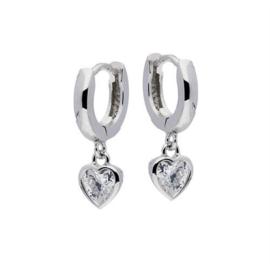 Zilveren kinderoorbellen:  met glazen hartje (klapcreool)