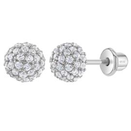Zilveren kinderoorbellen: Glitter bal met schroefsluiting