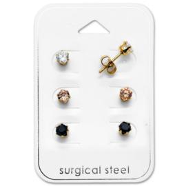 Chirurgisch staal voordeelsetje kinderoorbellen: Kristallen