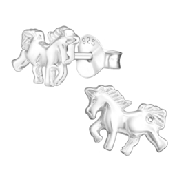 Zilveren kinderoorbellen:  Rennende paarden