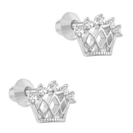 Zilveren kinderoorbellen: Kroon met schroefsluiting