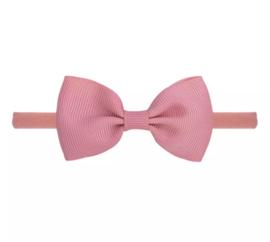 Haarbandje met strik oud roze