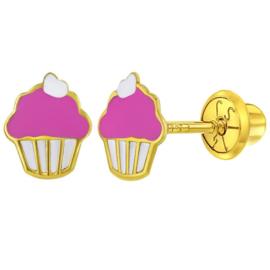 Gouden kinderoorbellen: Cupcakes met schroefsluiting