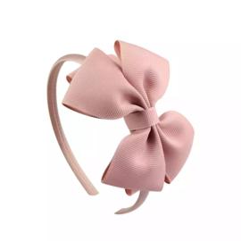 Diadeem met strik: oud roze