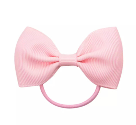 Haarelastiekjes: roze strik met elastiek