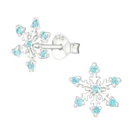 Zilveren kinderoorbellen: Sneeuwvlok blauw (Frozen)