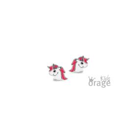 Zilveren kinderoorbellen:  Eenhoorn (ORAGE)