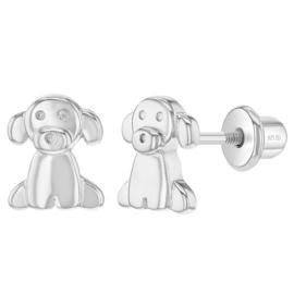 Zilveren kinderoorbellen: Hondje met schroefsluiting